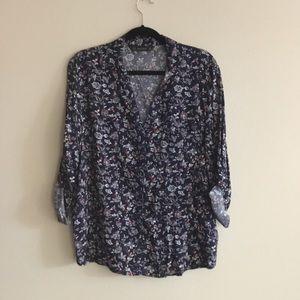 Zara Navy Floral Blouse